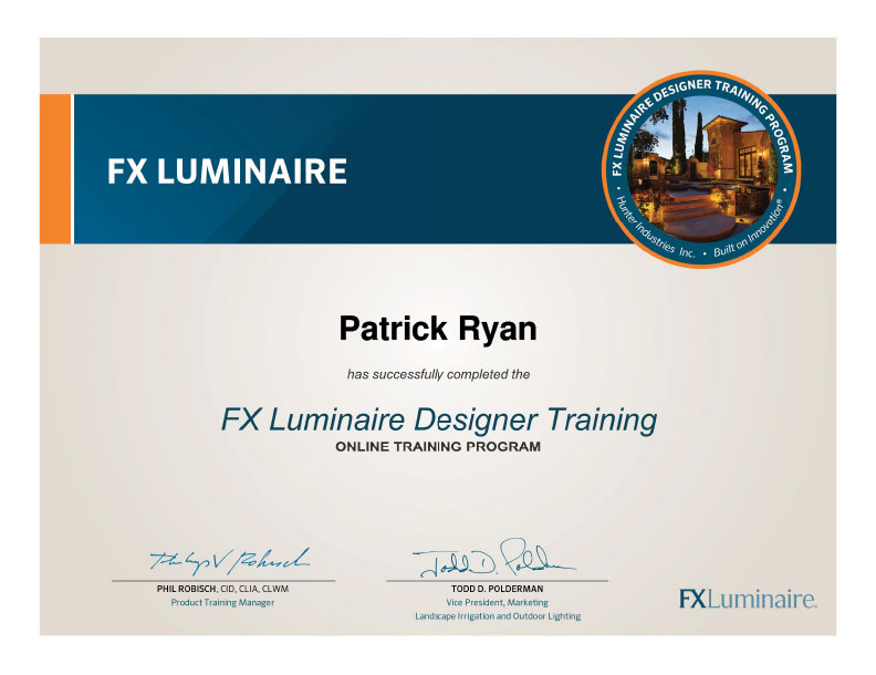 FX Lighting Design Certificate - Patrick Ryan